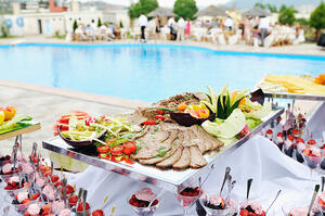 catering buffet food outdoor in luxury restaurant with meat and colorful fruits